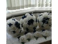 Wedding bouquets white& royal blue