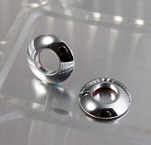 X2 Chrome Metal Door Lock Knob Grommet Cup Cap Covers For