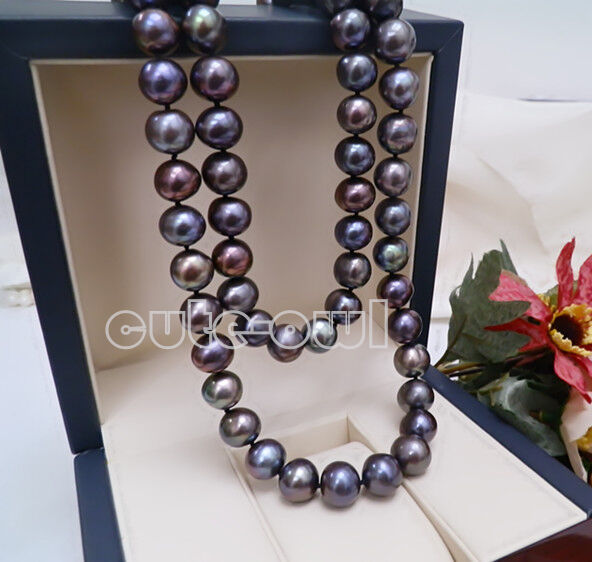 Fashion Women/'s Natural 8-9MM Black Freshwater Cultured Pearl Necklace 36/'/'