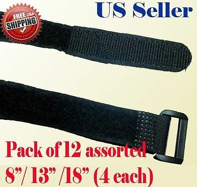 """12 Assorted 8"""" 13"""" 18""""  Fastener Cable Tie Down Strap Reusable Hook and Loop"""