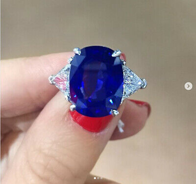 3Ct Cushion Cut Blue Sapphire Three-Stone Engagement Ring 18K White Gold Finish