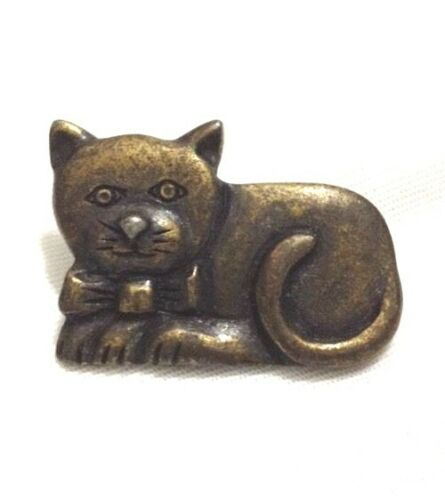 Cat Kitty Pin Cute Laying with Bow Tie Brooch