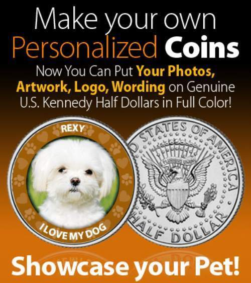Make Your Own Personalized POKER CARD GUARD Put Photo on JFK Half Dollar US Coin