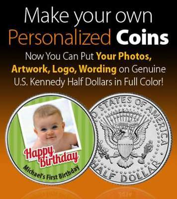 PERSONALIZED COIN your Photo & Words on JFK HALF DOLLAR Colorized Birthday Baby