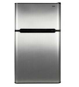 Haier-3-3-cu-ft-2-Door-Compact-Refrigerator-Freezer-Virtual-Steel-HNDE03VS-Dorm