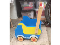 Wooden Baby Walker - Blue Truck