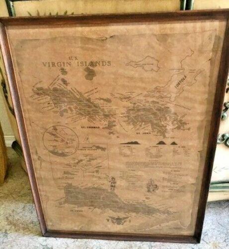 Antique WOOD FRAMED MAP OF VIRGIN ISLANDS USA Copyright Hans Bulow Nautical Art