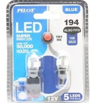 5 Pack Blue Led - NEW Pilot Automotive 194 BLUE LED Bulb, 2-Pack IL-194B-5 12V 1W Bulb