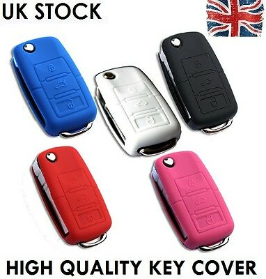 VW Seat Skoda Flip Key Case Cover Car Silicone Skin Rubber VAG Shell Hub B New