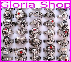 BULK LOT 5pcs Mixed Tibet Silver Skull Rings FREE POST