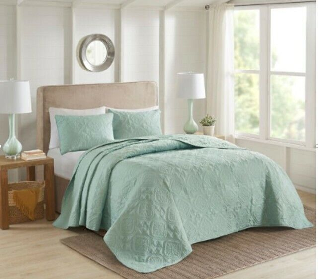 Madison Park Mansfield Reversible Bedspread 3pc King Seafoam