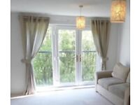 Wide Beige Curtains (pole also available)