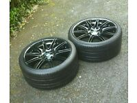 """×2 GENUINE BMW 19"""" 225M MV4 9J REAR ALLOY WHEELS STAGGERED REFERBISHED IN STUNNING GLOSS BLACK"""