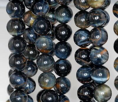 12MM BLUE ROUND TIGER EYE GEMSTONE GRADE AB LOOSE BEADS 15.5