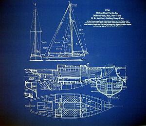 Sailboat Sloop Sailing Boat 1936 Blueprint Plan 20