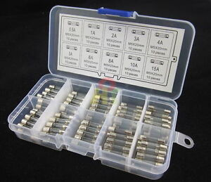 100pcs-5x20mm-Quick-Fast-Blow-Glass-Assorted-Fuse-Amp-0-5A1A2A3A4A5A6A8A10A15A
