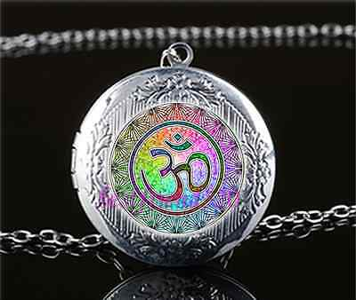 Om Mandala Photo Cabochon Glass Tibet Silver Locket Pendant Necklace