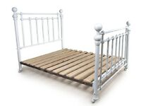 Double Brass Bed Painted White - originally bought from 'And So To Bed'