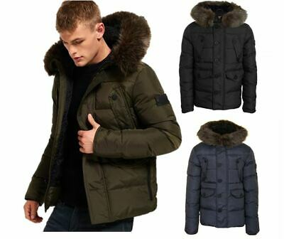 SuperDry Men's Chinook Jacket Hooded Coat Zip Coat Green, Navy and Black