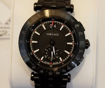 Versace Men's Watch with 42mm Black Chronograph FaceSteel & Black Breclet
