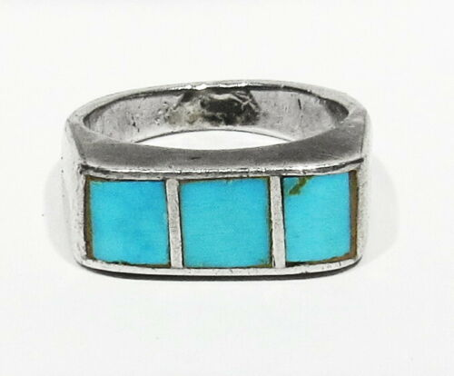 RARE Old Pawn 30s Zuni 7 Piece HANDMADE 925 Silver Turquoise Inlay Mans Ring 4.5