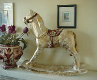 Large Decorative Papier Mache Rocking Horse Gold Lace Effect