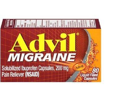 New Advil Migraine (80 Count) Pain Reliever Liquid Filled Capsules 200 Mg