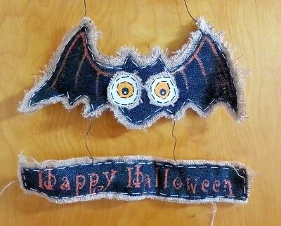 Burlap Happy Halloween Bat Door Sign Home Decor Wreaths Crafts BH - Bat Halloween Craft
