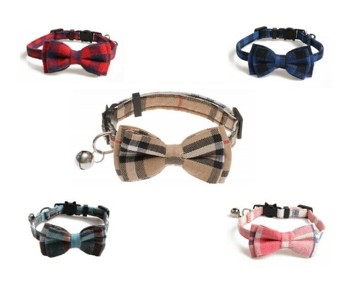 Silver Bell Check Plaid Cat Collar Breakaway ~ Bow tie Removable Kitten Cat Supplies