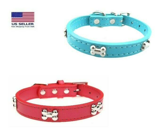 Pet Collar Bone Stud – Dog Puppies Leather Adjustable Silver Buckle Collars