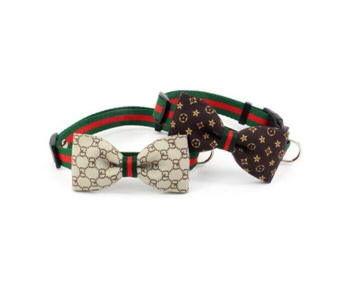 Dog Cat Collar Plaid Bow Tie Removable ~ Brown / Beige ~ Luxury Classic Stripe Cat Supplies