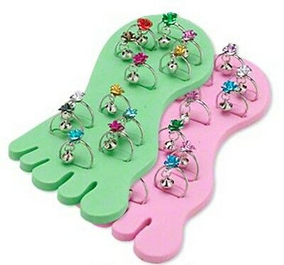 Toe Rings Adjustable Rose Bell Mix w/ Display Foot Jewelry Lot of 12 Bell Adjustable Ring