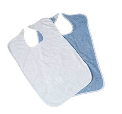 3 NEW TERRY CLOTH ADULT LARGE 18''X30'' CLOTHING PROTECTORS WHITE OR BLUE BIB