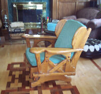 Rocking armchair. Country style. Solid wood - oak. Very solid.