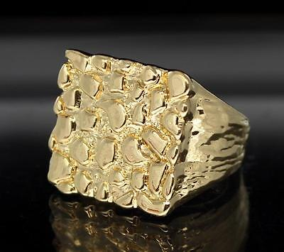 Nugget 14K Gold Plated Square Pinky Fashion Bling Hip Hop Ring Size 6 12