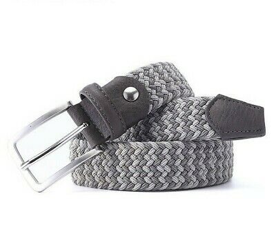 Elastic Belts Men Braided Fabric Woven Stretch High Quality Covered Metal Buckle Cloth Covered Stretch Belt