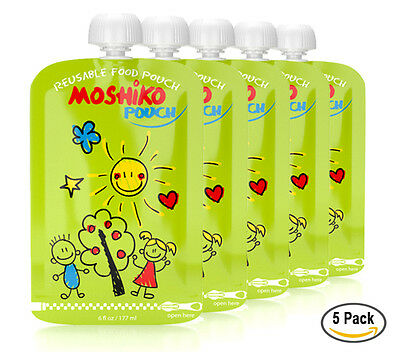 Reusable Baby Toddler or Adult Food Pouch by Moshiko (5 pack)