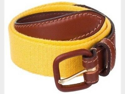 American Apparel Sunshine Yellow Solid Web Belt Brown Leather Buckle S (26-28)