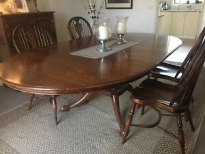 European Hardwood Dining Room Table And Chairs