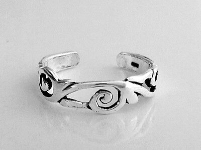 Sterling Silver rustic floral dainty adjustable toe ring