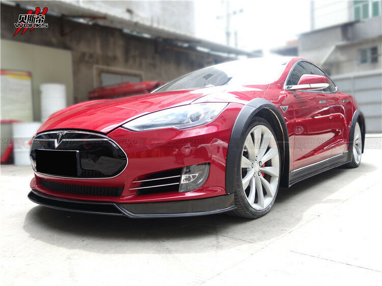 Carbon Fiber Fender Flares Kit Addon For Tesla Model S 2012-2016 Body Kit