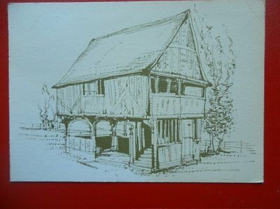 POSTCARD SURREY WEALD & DOWNLAND OPEN AIR MUSEUM PENCIL SKETCH