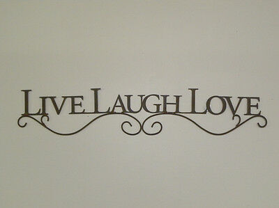 BLACK Live Laugh Love Metal Wall Art Decor Sign Wall Hanging 26 Inches