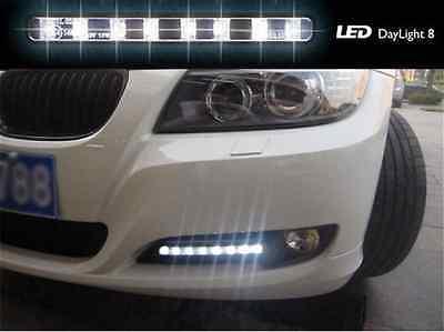 2 Pcs 8 LED 12V White Euro Driving Fog Lamp DRL Daytime Running Lights For BMW