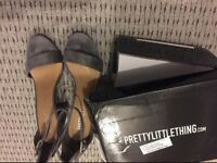 Grey faux suede block heeled shoes