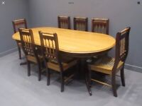Yellow Wood and Imbula Oval Dining Table and Six Chairs