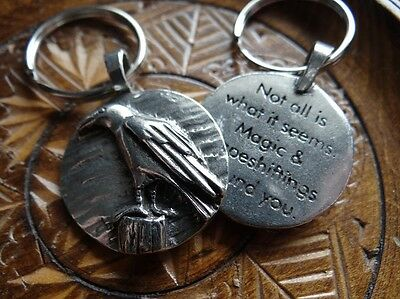 Raven Totem Spirit Keychain Wiccan Pagan Jewelry Keyring