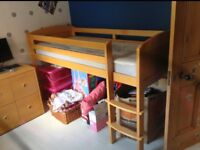 Aspace childrens' furniture: cabin bed (including Aspace mattress), chest of drawers and wardrobe.