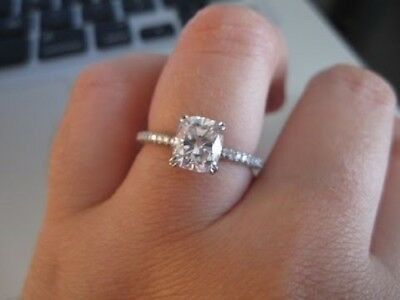 1.40 Ct. Cushion Cut Diamond Engagement Ring GIA H, VS1 14k Absolutely Stunning 2