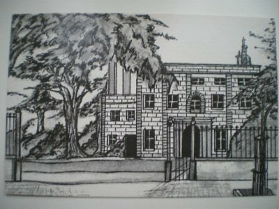 POSTCARD ALDERNEY ALDERNEY - THE ISLAND HALL - PEN AND INK DRAWING BY SONYA DEAN
